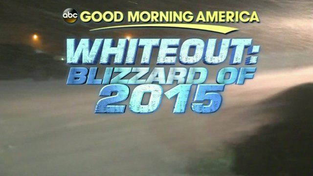 Still image from Good Morning America reads 'ABC Good Morning America, Whiteout: Blizzard of 2015'