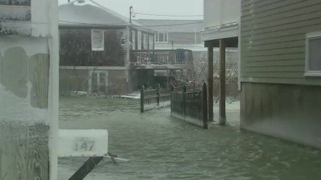 Floodwater in Scituate in Massachusetts