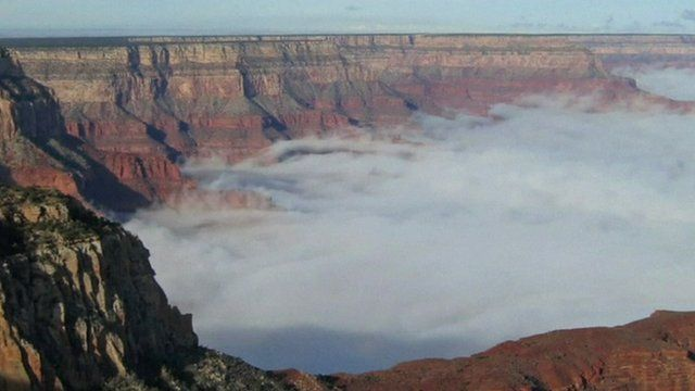 A sea of clouds in the grand canyon