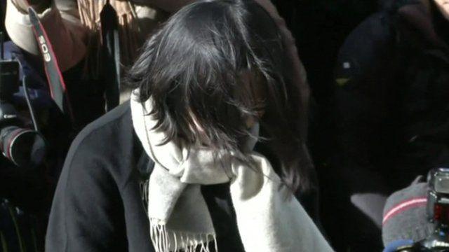 Cho Hyun-ah hangs her head in shame