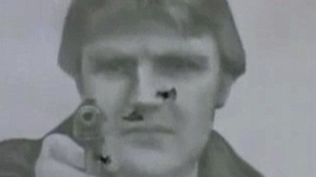 Still from a Russian military video shown to the Litvenenko inquiry, which shows an image of Alexander Litvinenko said to have been used as target practice