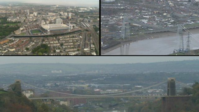 A montage picture of Newport, Cardiff and Bristol