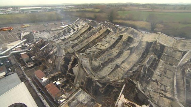 Fire damage at the Dowty factory in Staverton