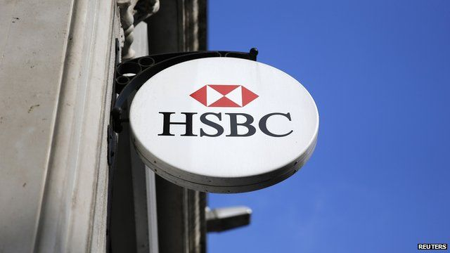 HSBC sign is seen outside a bank branch in London