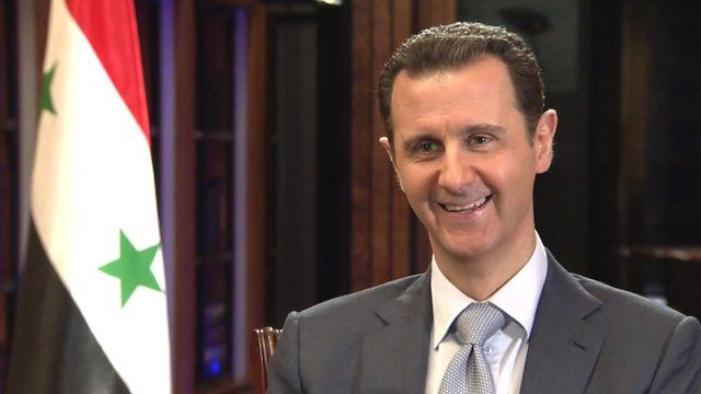 Syrian President Bashar al-Assad filmed in an interview with the BBC's Jeremy Bowen