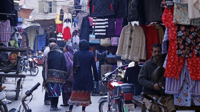 Second-hand clothes market in Lahore, Pakistan
