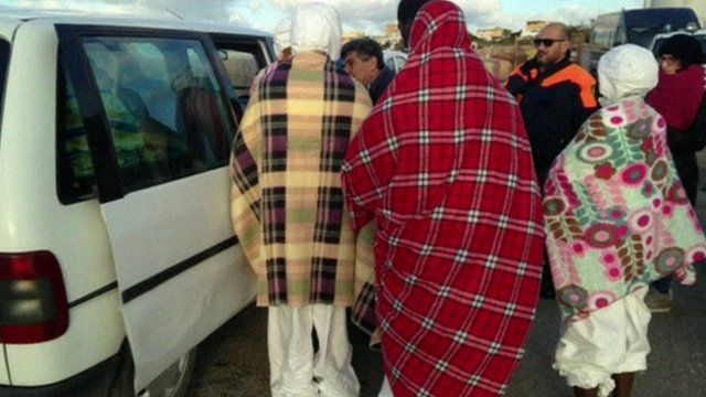 Migrants rescued in Lampedusa