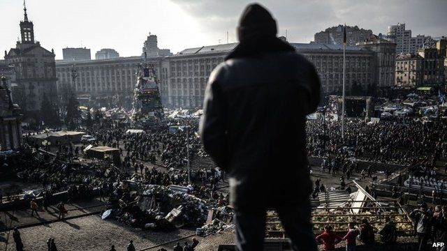 Anti-government protesters attend a rally on Independence square on February 21 2014