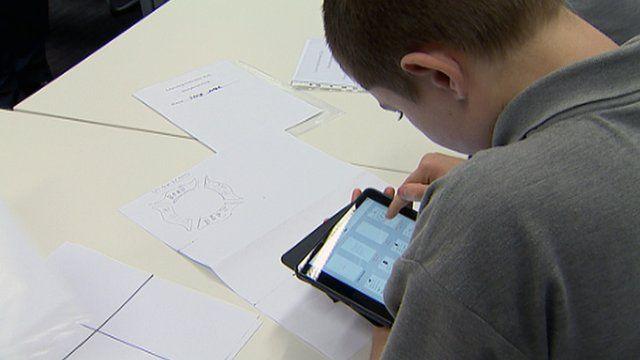 Boy using a tablet