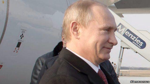 Russian president Vladimir Putin arriving in Hungary