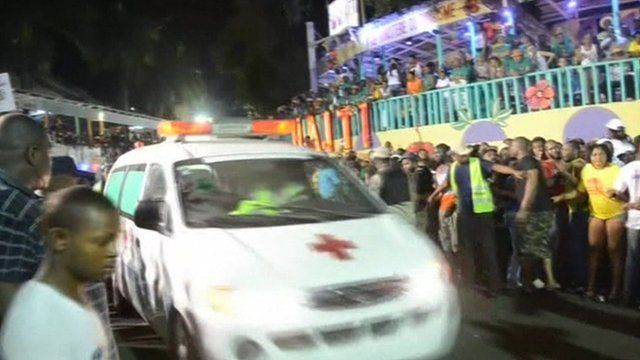 Emergency services tend to those injured at the carnival in Haiti