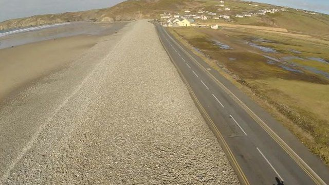 Newgale beach's shingle bank has been breached many times
