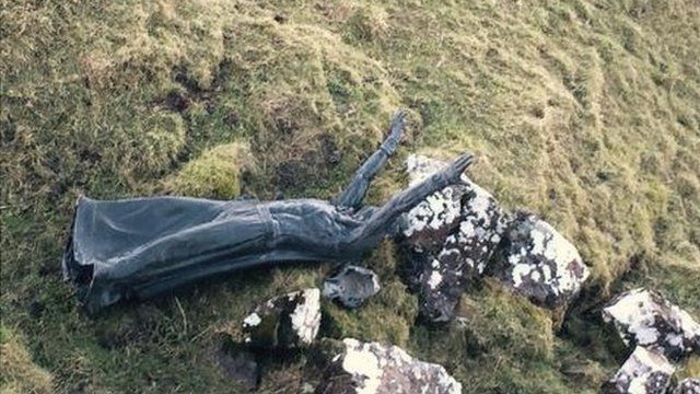 The statue was found 300 metres from its original position by soldiers on a training exercise