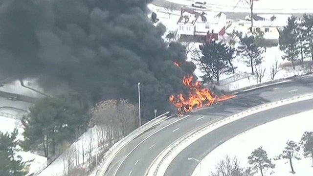 Flames and black smoke from the tanker truck