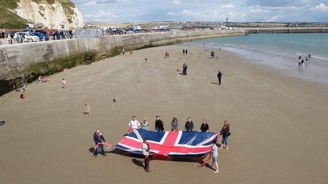 Protesters on Newhaven beach