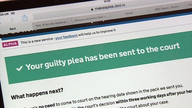 Screen shot of new online system to plead guilty to speeding fines