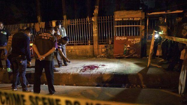 Police crime scene of the murder of blogger Avijit Roy in Dhaka, Bangladesh