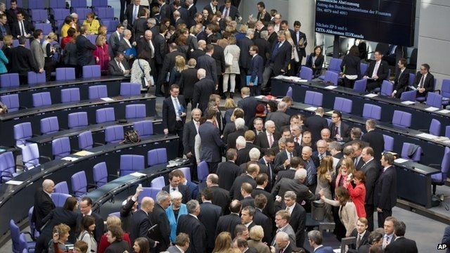 Members of the German parliament vote on financial help for Greece