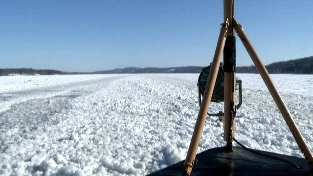 View from a boat of the frozen Hudson river