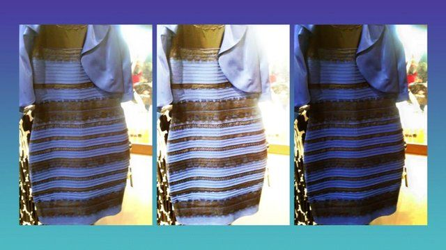 Gold white or black and blue dress