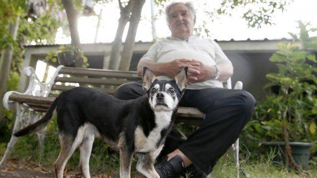 Uruguay's President Jose Mujica speaks beside his dog Manuel