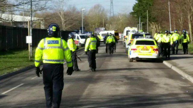 Police at scene of illegal rave in Swindon