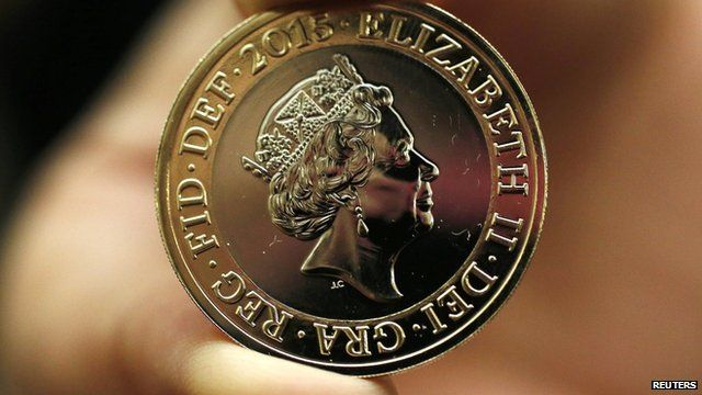 Two-pound coin with the new portrait of the Queen