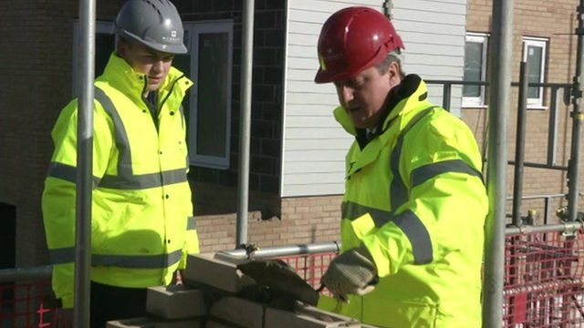 David Cameron visiting a construction site in Thurrock, Essex.