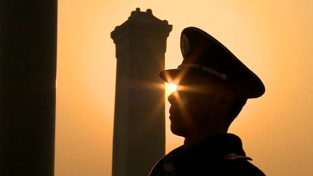 Silhouette of a solider in China