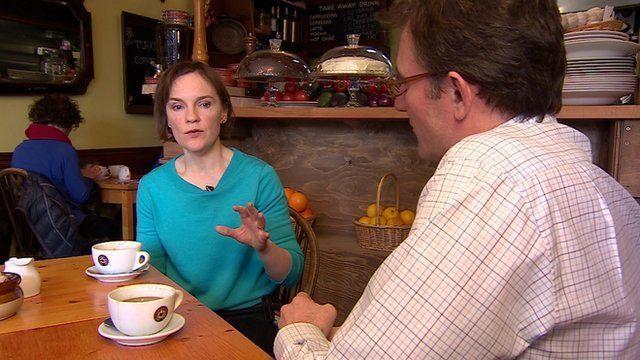 Justine Miliband with James Landale