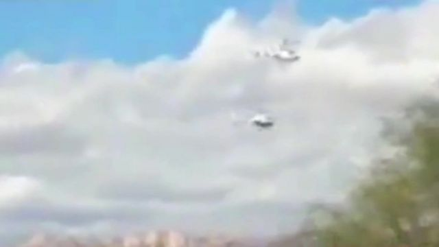 Mobile phone footage caught the moment the helicopters collided