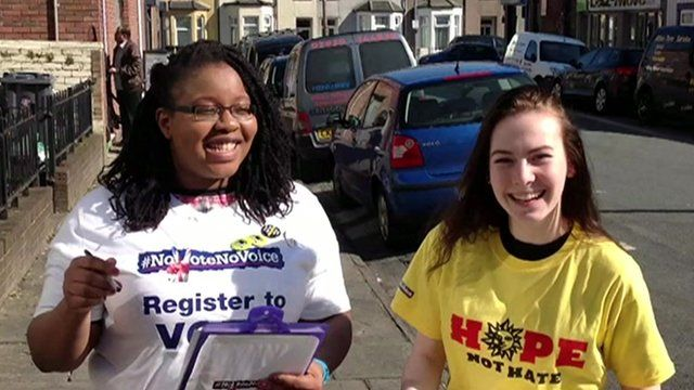 Hope Not Hate and Bite the Ballot volunteers taking part in voter registration drive in Cardiff