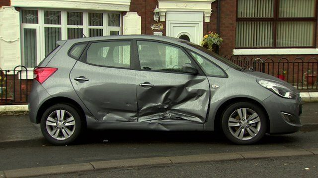 A car was struck by the vehicle which left the scene, as Andy West reports.