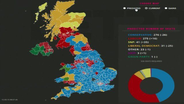 Election UK Political Map Based On Seats And Bets BBC News - Us election heat map