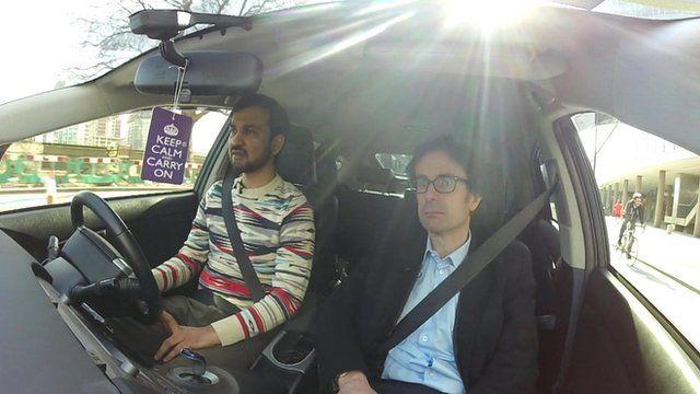 Uber taxi driver Riz and the BBC's Robert Peston