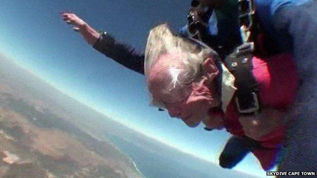 Georgina Harwood skydives to celebrate her 100th birthday.