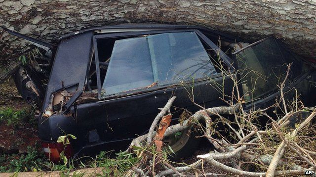 Handout photo taken on 16 March 2015 by Unicef Pacific shows a car crushed underneath a tree downed by Cyclone Pam near the Vanuatu capital of Port Vila