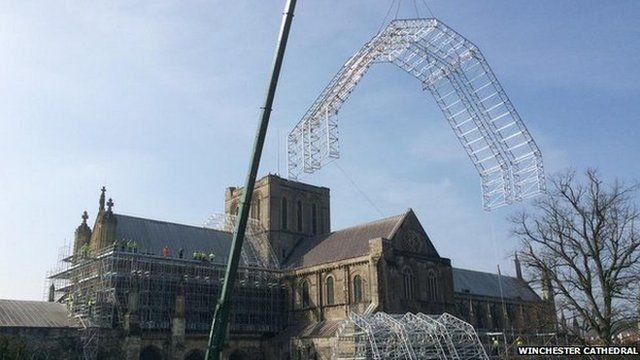 Winchester Cathedral scaffold frame