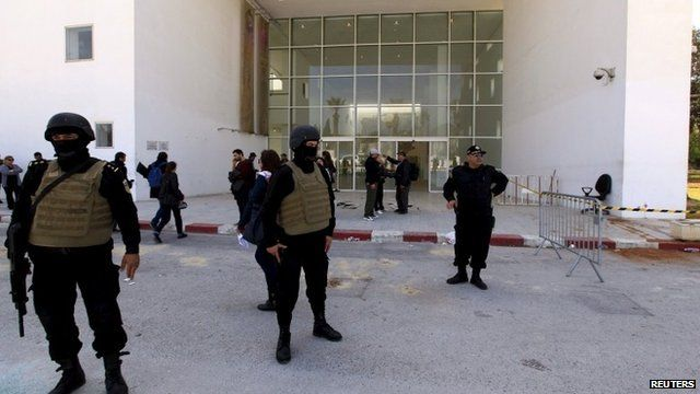 Armed government forces outside the Bardo museum in Tunis