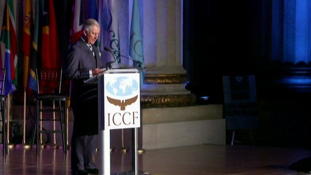 Prince Charles speaking at the International Conservation Caucus Foundation in Washington.
