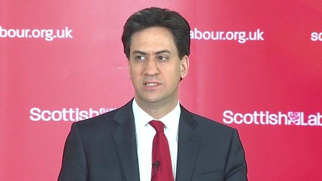 Labour leader Ed Miliband giving a speech in Clydebank, Scotland