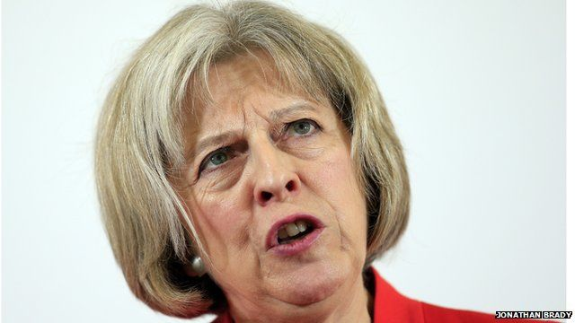Home Secretary Theresa May delivering a speech on extremism