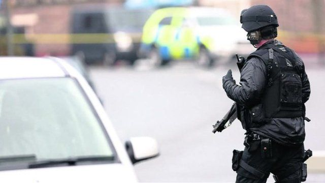 Police at the armed standoff in Cynwyd, near Corwen