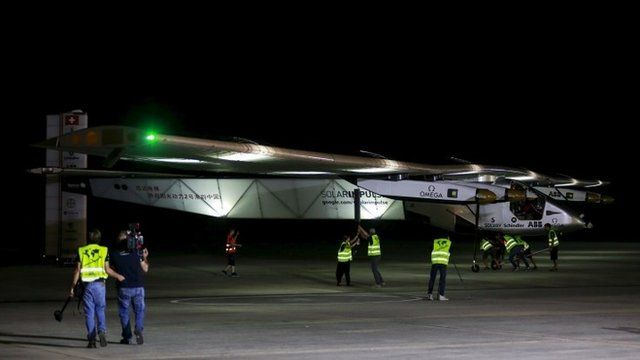 The Solar Impulse 2 is seen before take-off at Mandalay international airport