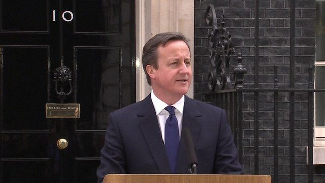 Prime Minister David Cameron gave a speech outside Downing Street.