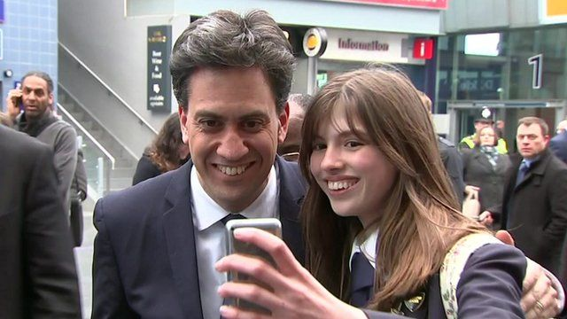 Ed Miliband posing for a selfie with a supporter