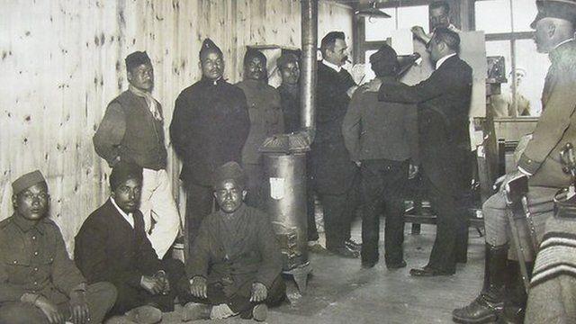 Prisoners recording in a German war camp