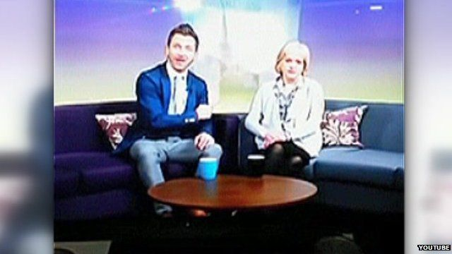 Darren Eadie and Helen McDermott in Mustard TV studio