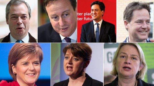 The seven party leaders who took part in the TV debate