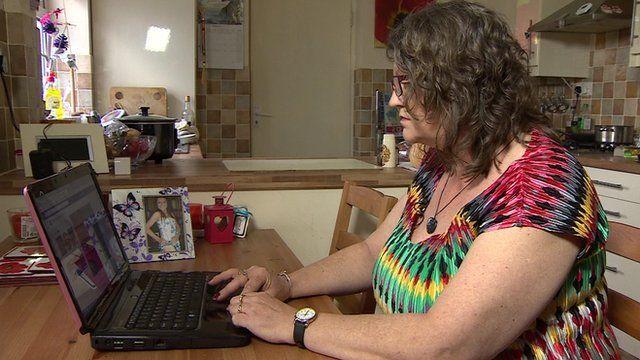 Louise Palmer at computer screen